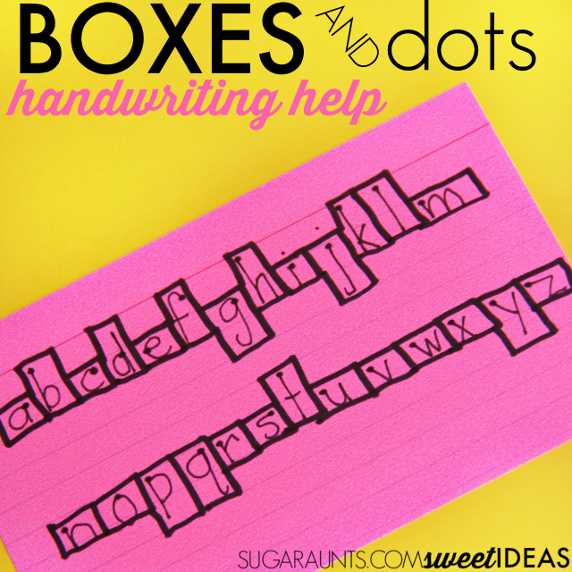 Use a visual cue of boxes and starting dots to work on letter formation, line awareness, space awareness, and size awareness of letters when teaching kids to write.
