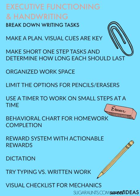 executive functioning skills in handwriting
