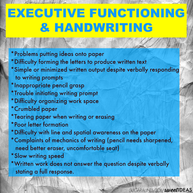 Executive functioning skills and handwriting with tips for helping kids at home and in the classroom
