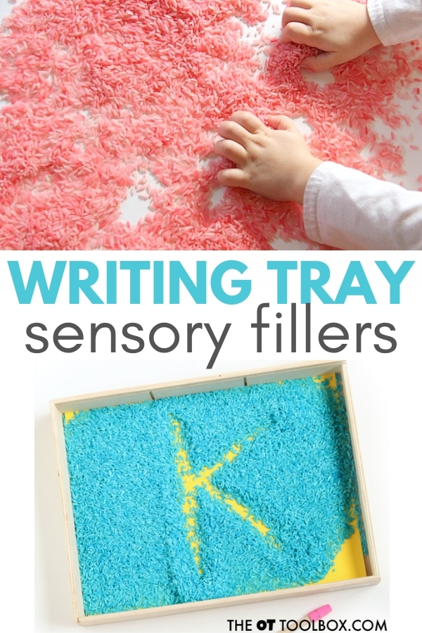 Writing tray sensory filler ideas for handwriting