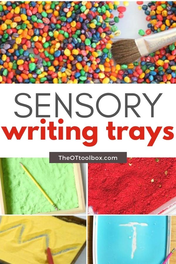 Writing trays are sensory activities to teach handwriting