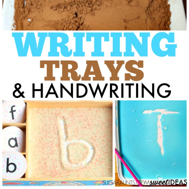 Writing trays for handwriting, letter formation, and fine motor skills.