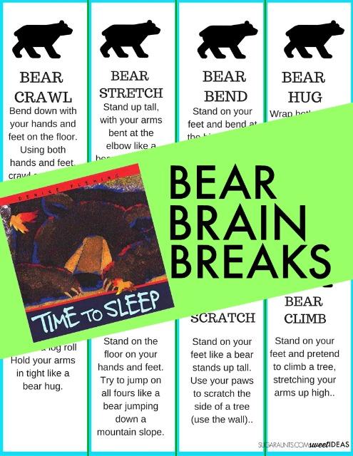 bear brain break activities