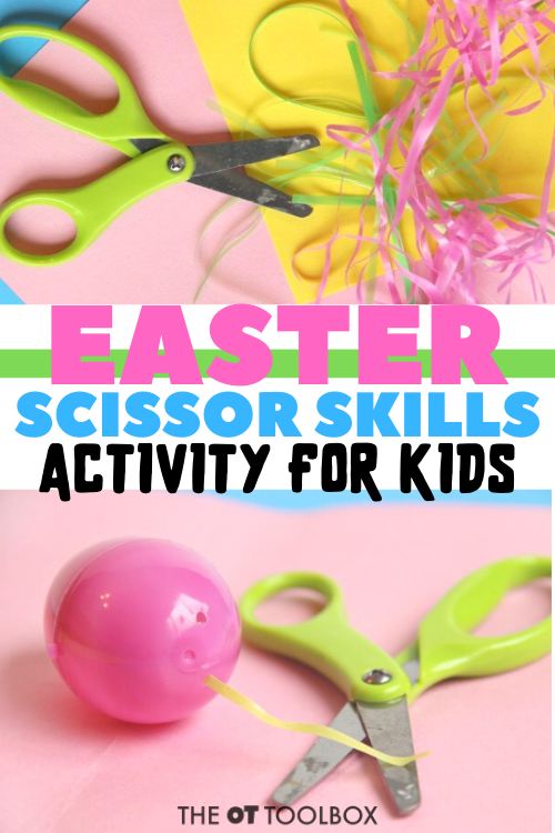 This Easter activity for kids doubles as a scissor skills activity to build precision and accuracy with cutting with scissors.