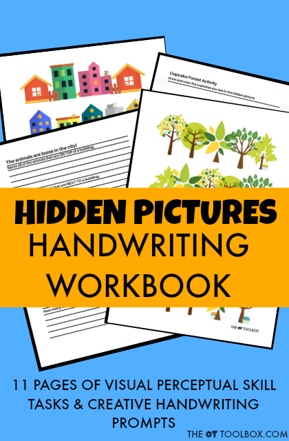 Work on visual perception with hidden pictures.