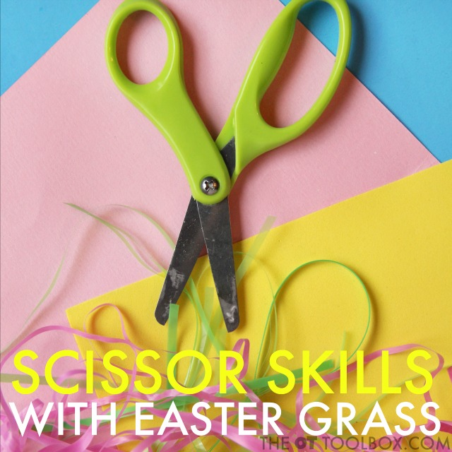 Teach kids Scissor skills and accuracy with cutting with scissors with this easy Easter activity for kids.