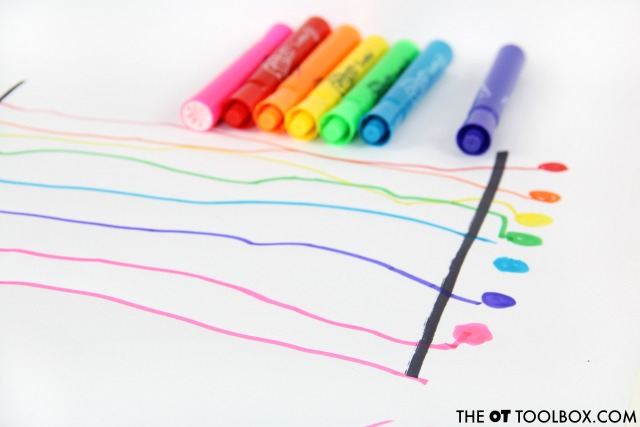 Try this rainbow visual motor activity to help kids work on handwriting in a creative way.