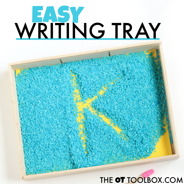 Easy rice writing tray for helping kids learn to write letters and numbers with a tactile sensory and movement based motor plan.