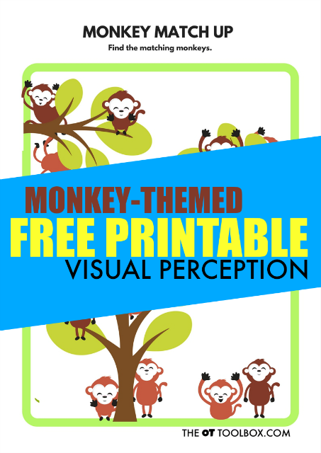 Free visual perception worksheet with a monkey theme is great for addressing visual perception skills like visual figure ground.