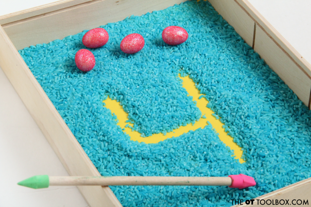 Use erasers or small toys in an easy rice writing tray to help kids learn how to write numbers.