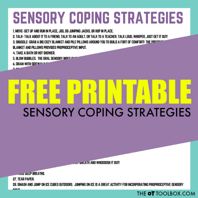 Printable list of sensory coping strategies for helping kids cope.