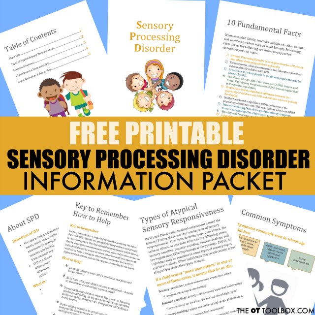 Parents and teachers will love to pass on this free sensory processing disorder information booklet.