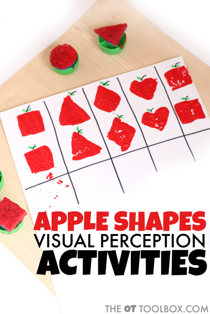 Use DIY apple stamps to work on visual perception with an apple theme.