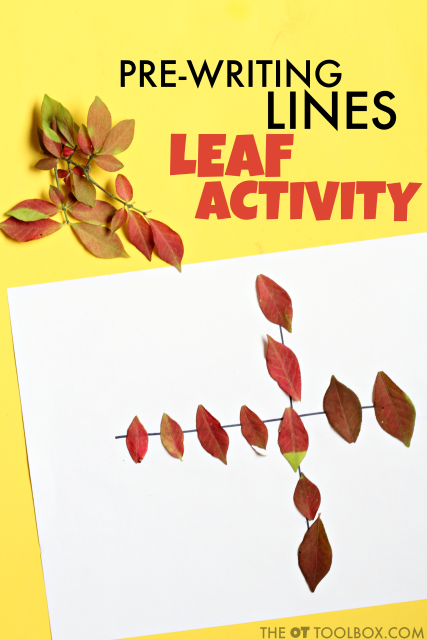 Pre-writing activity for helping kids develop the skills needed for pre-writing lines and handwriting using fall leaves