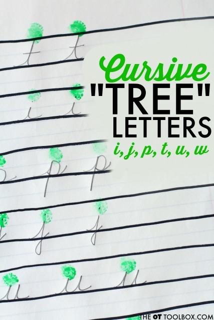 cursive letter formation tree letters