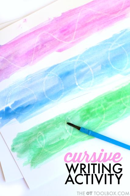 cursive letter formation watercolor resist art