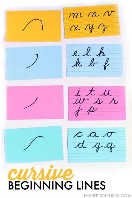 cursive letter formation starting lines