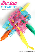 fine motor feather burlap weaving