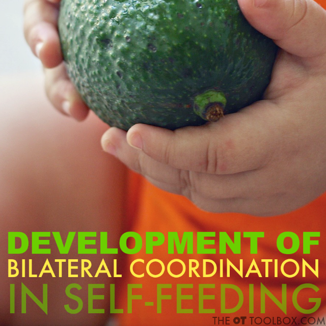 Development of bilateral coordination for feeding skills is essential for accuracy and improving independence in self-feeding in kids.