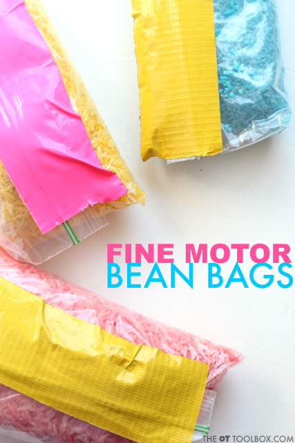 Kids can work on kinesthetic learning and kinesthetic fine motor skills with this bean bag activity that helps to address motor planning needs.