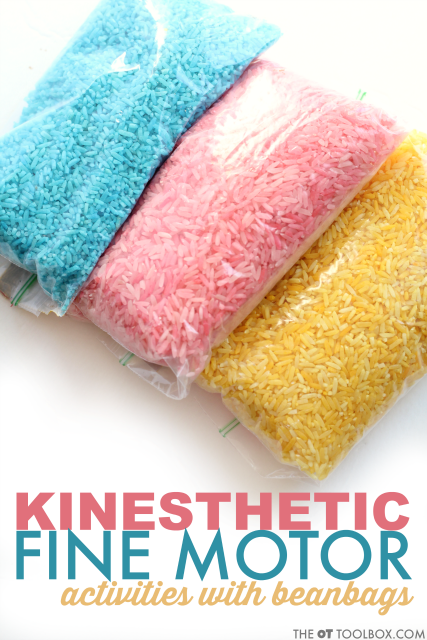 These kinesthetic learning fine motor activities use homemade bean bags.