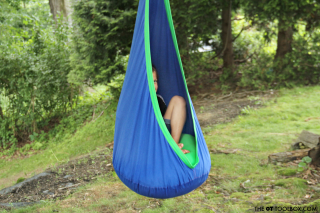 Use a sensory swing indoors or outdoors, a great alternative seating idea for the classroom