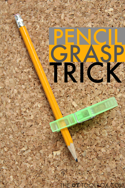 Kids can hold a clothespin clipped onto a pencil to help with pencil grasp and fine motor skills needed for improving handwriting and pencil grasp with this easy pencil grasp trick.