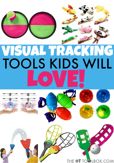 These visual tracking games will be a useful tool in helping kids with visual tracking needs to read, write, visually scan and complete other visual motor tasks, using fun tracking games and visual tools that kids will love to use in occupational therapy activities or as part of a therapy home program for visual tracking!