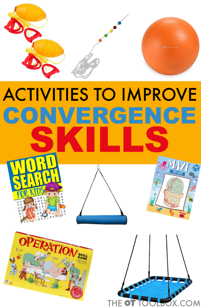 These activities to improve convergence skills are ways to improve convergence insufficiency and visual motor skills needed for visual processing activities including fun occupational therapy activities for kids.