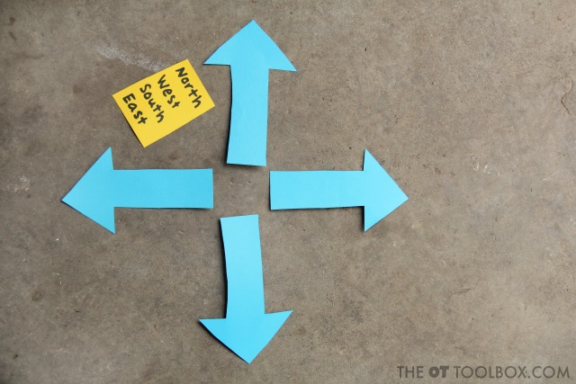 Teach kids directions and north, south, east, west using arrows and directionality concepts.