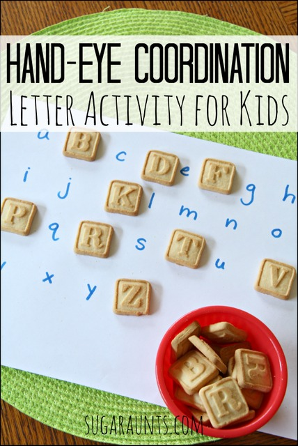 Hand eye coordination activity with letter cookies for preschool