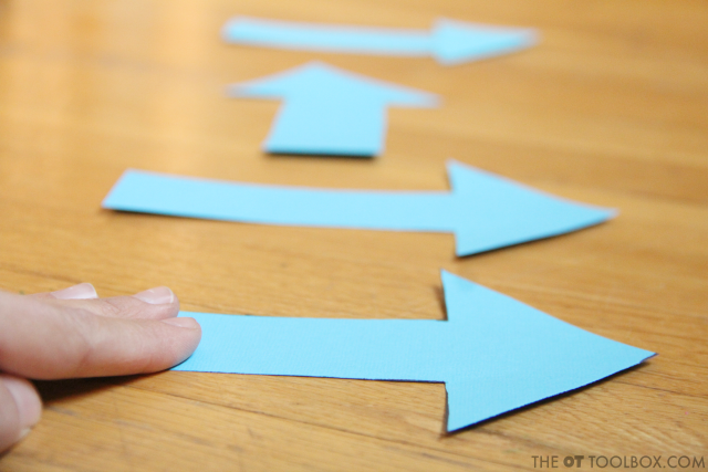 Direction following activities with arrows are a fun way to teach kids directionality and teach left and right with movement.