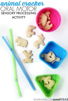 Sensory activity for kids with animal crackers