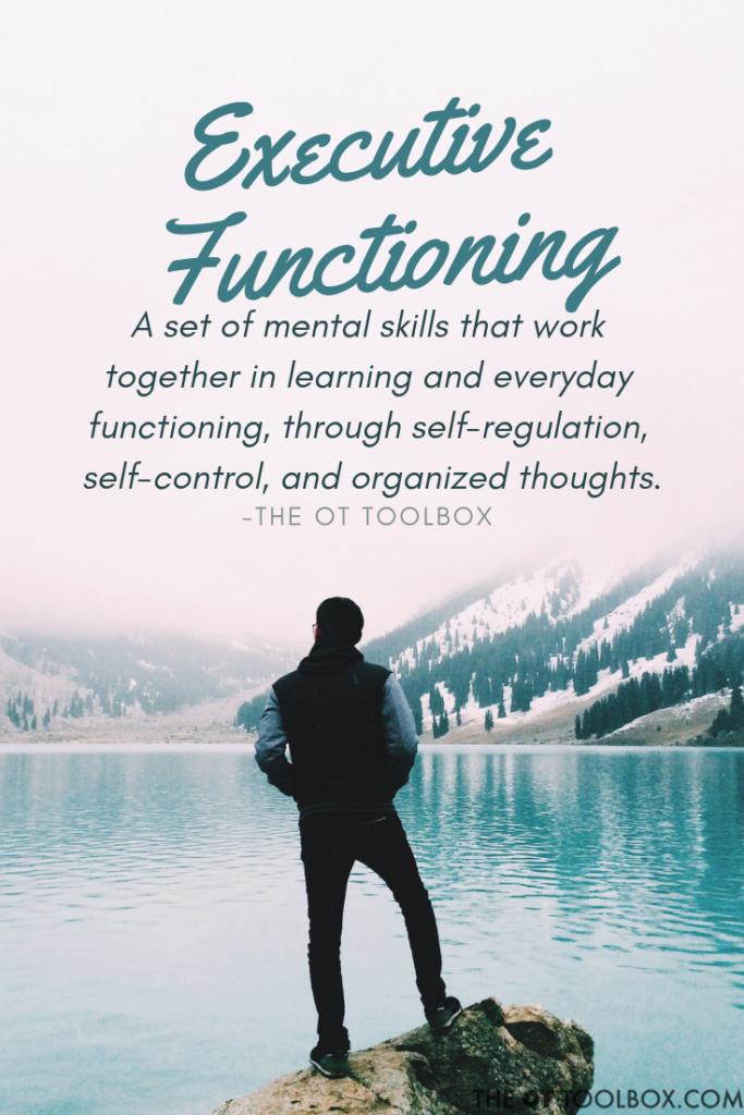 Executive functioning skills are a set of mental skills that work together in learning, safety, and functioning through self-regulation, self control and organized thoughts.
