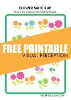 Flower theme free visual perception worksheet to help kids work on visual perceptual skills like visual discrimination, visual memory, visual attention, and pencil control needed for handwriting.