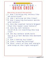Handwriting self-assessment quick check list