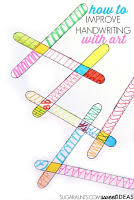 Work on handwriting skills like line awareness, letter formation, pencil control, spatial awareness, and bilateral coordination with tangle art!
