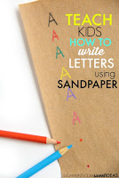 Use sandpaper to help kids with letter formation handwriting