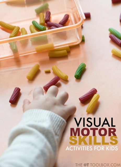 Looking for easy and fun ways to work on visual motor skills? Kids will love to work on fine motor activities that improve eye-hand coordination and the visual motor skills needed for tasks like handwriting.