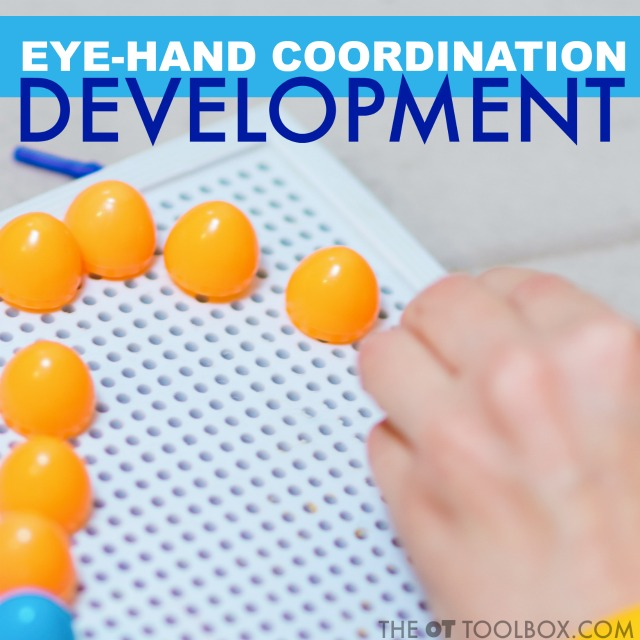Try activities like geoboards, pegboards, and lacing beads to improve eye hand coordination development in kids.