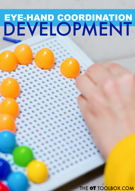 Eye hand coordination develops from a very young age! Here is information about the development of visual motor skills, specifically eye hand coordination in babies, toddlers, and preschoolers.
