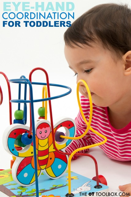 A lot of eye hand coordination development occurs in the toddler years. Here are developmental milestones for eye hand coordination from 1-3 years.