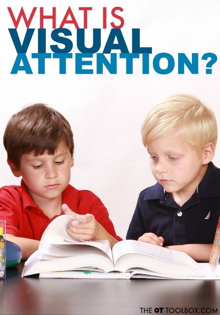What is visual attention? It's a visual processing skill that allows us to read and maintain our place on a line of words. Visual attention allows us to copy written work and notice details. It allows us to recognize faces and letters or words. Visual attention is an important visual skill that many kids struggle with.Learn more here, as well as other information on visual processing.