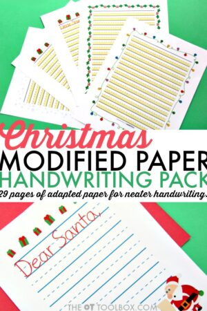 Christmas modified paper for holiday handwriting for kids