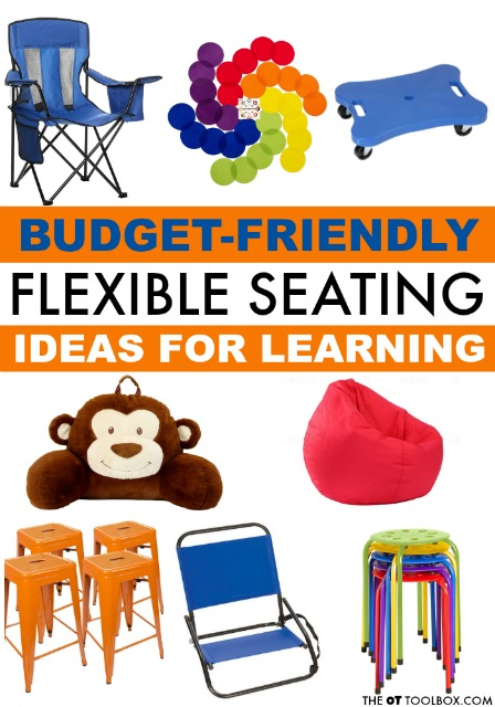Cheap flexible seating ideas for the classroom include  camp chairs, beach chairs, bean bags, and pillows.