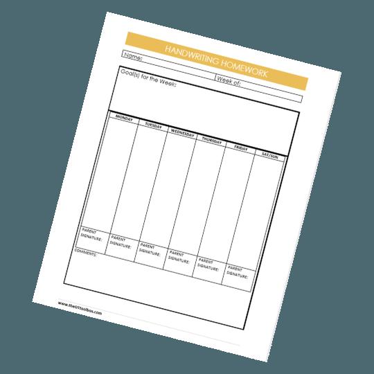 handwriting homework sheet