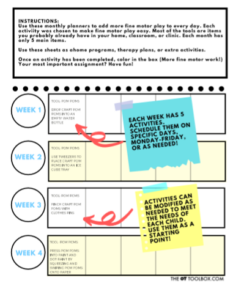 weekly fine motor plans for kids