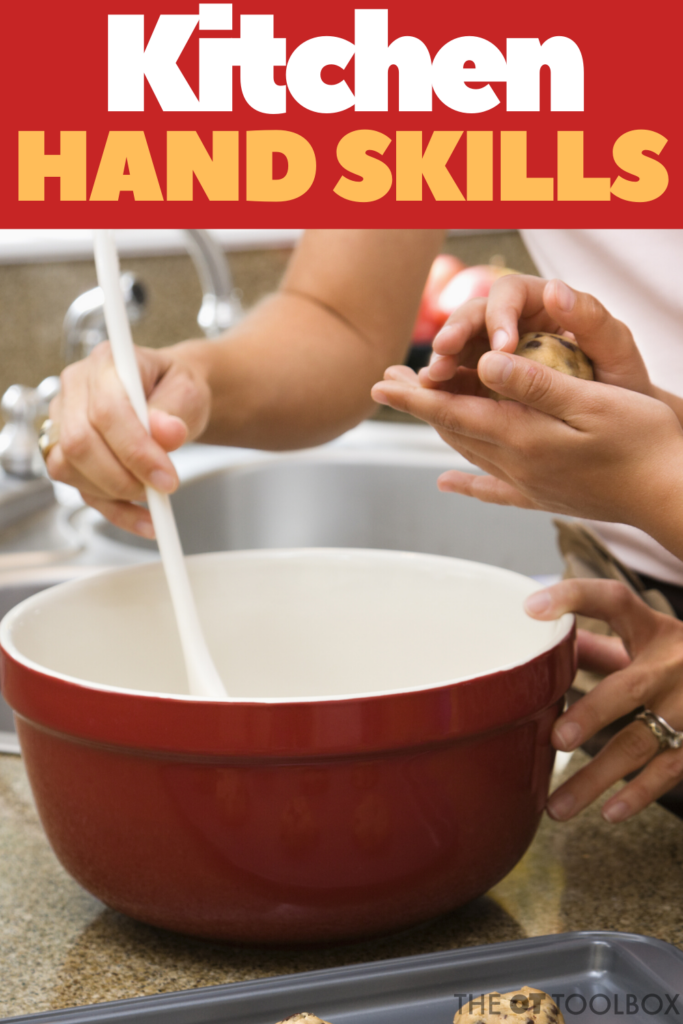 Hand skills are motor development areas that kids need for tasks requiring dexterity, coordination, and other fine motor areas. These kitchen hand skills are ways to build motor tasks through cooking activities.