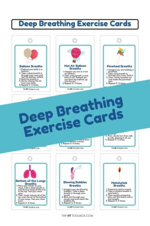 Deep breathing, belly breathing activities in different themes