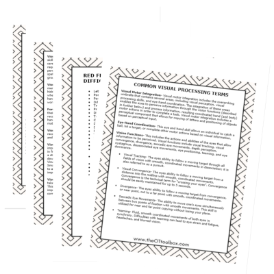 Understand common visual processing terms with these therapy information sheets